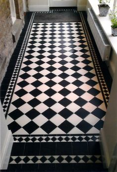 Black and White Kitchen Flooring. 20 Black and White Kitchen Flooring. Black Kitchen Cupboards I Brick Wall I Black and White Tiles Hall Tiles, Tiled Hallway, Hallway Flooring, Bathroom Flooring, Vinyl Flooring, Kitchen Flooring, Flooring Ideas, Kitchen Tiles, Room Tiles