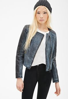 Faux Leather-Paneled Denim Jacket | Forever 21 - 2000081444