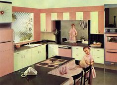 See 22 vintage kitchen ideas - from funky fridges to creative cabinetry - plus other retro appliances and home decor we don't see much anymore. Retro Home Decor, Vintage Decor, Vintage Pink, Vintage Stuff, Kitsch, Retro Appliances, Retro Kitchens, 50s Style Kitchens, Pink Kitchens
