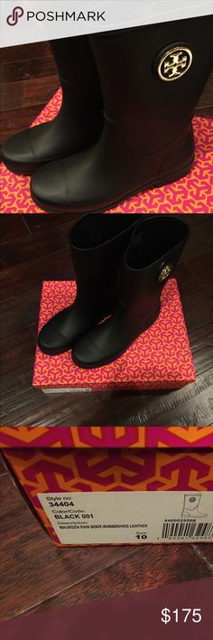 NWT Tory Burch Maureen Black Rain Boots NWT Tory Burch Maureen Black Rain Boots.  Size 10.  Mid-calf rise; gold hardware.  Check out my other listings - multiple item discount offered.  Thanks for shopping! Tory Burch Shoes Winter & Rain Boots