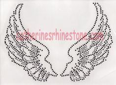 Rhinestone Iron On Transfer Hot fix Black angel wings on Etsy, $9.71 CAD