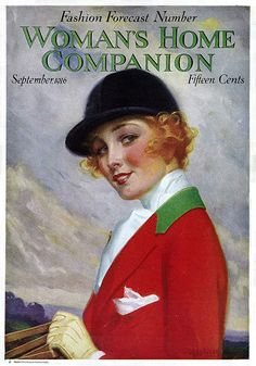 The absolutely beautiful September 1916 cover of Women's Home Companion featuring a vivid, stylish equestrian look.