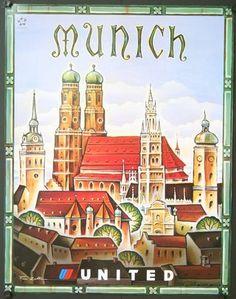Vintage Travel Poster - Munich,-by Tim Zeltner, 2000 -Germany. (United Air Lines). Vintage Travel Posters, Vintage Postcards, Vintage Airline, Tourism Poster, Travel Ads, Travel Illustration, United Airlines, Art Graphique, Illustrations