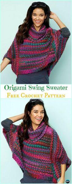 Crochet Origami Swing Sweater Free Pattern - Crochet Women Sweater Pullover Top Free Patterns