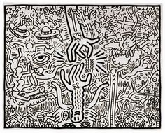 Keith Haring - The Marriage of Heaven and Hell, 1984, ink on paper