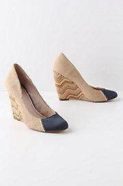 I just spotted these in the latest Anthropologie catalog. Stitched Chevron Wedges.