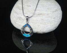 Blue opal silver meander pendant greek key by ThetisTreasures