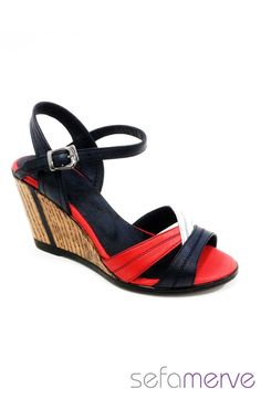 İlgi Hazal Deri Sandalet Zen 764 01 Siyah Kırmızı