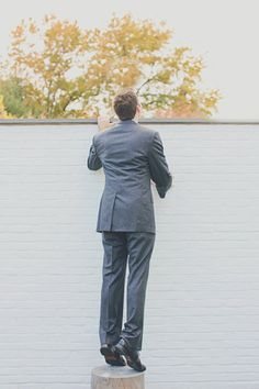 This great #groom can't wait to get a peek at his beautiful #bride! Photography by Our Labor of Love / ourlaboroflove.com