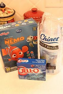 Ocean jello cups (use Swedish fish instead).