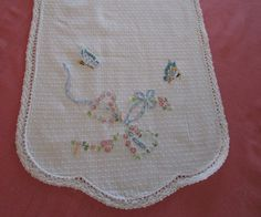 Vintage Table Runner Shabby Chic Cotton by VintageLinenGallery