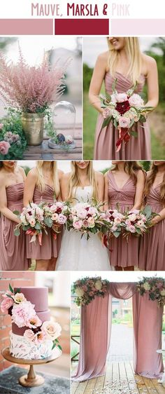 mauve, marsala and pink late summer wedding color ideas fall wedding corsage / fall wedding boutineers / fall wedding burgundy / wedding fall / wedding colors Wedding Robe, Dusty Rose Wedding, Wedding Flowers, Burgundy Wedding, Late Summer Weddings, Winter Weddings, Summer Wedding Colors, Summer Wedding Dresses, Pink Wedding Theme