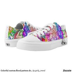 Colorful custom floral pattern drawing watercolor printed shoes