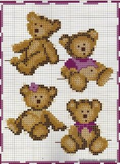 cross-stitch teddy bears ... no color chart, just use pattern chart colors as your guide.. or choose your own colors.: