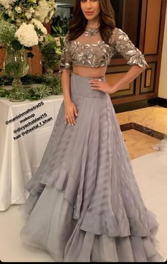 Designer dresses indian - Sophie Chaudary In Gray Ruffle Skirt With Crop Top Indian Fashion Dresses, Indian Gowns Dresses, Dress Indian Style, Indian Designer Outfits, Indian Outfits, Indian Skirt And Top, Indian Crop Tops, Pakistani Fashion Party Wear, Choli Designs