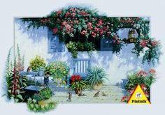 Gizli Bahçem (1000 parça) Piatnik 37,90 TL Brush Strokes, Abstract Landscape, Greece, Scenery, Creations, Tapestry, Romantic, Table Decorations, Flowers