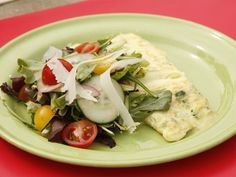 Omelet with Onions, Zucchini, and Fontina recipe from Anne Burrell via Food Network