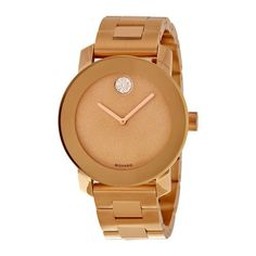 Movado Bold Bronze Dial Rose Gold Ion-plated Stainless Steel Band and Case Ladies Quartz Watch (W-3600335)