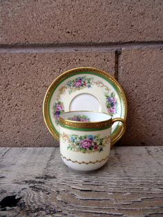 Vintage Limoges C. Ahrenfeldt, For Marshall Fields, Chicago, Demitasse, France Depose, Gold Rimed Purple, Pink Floral Design, Hand Accents by TiesofMyFather on Etsy