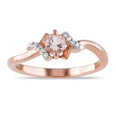 I want this so bad for our one-year! 4.0mm Morganite and Diamond Accent Promise Ring in Rose Rhodium Plated Sterling Silver