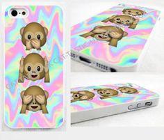 Tie Dye,monkey, Emoji,emojis, iPhone 4,4s, 5C, 5S,5,bright,glossy cover Case