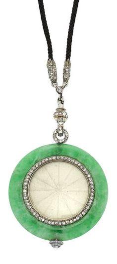 Art Deco Jade, Platinum and Diamond Pendant-Watch, Boucheron, circa 1920.
