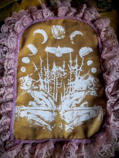 Mustard Gemini Moon Back Patch with Rose Lace by PeachMoonDIY on Etsy