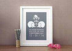 personalized christening print elephant design by Doodlebump