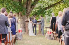 outdoor ceremony - in front of the fireplace!