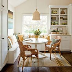 perfect banquette for your small dining - Love to wake up to this on an early Sunday!