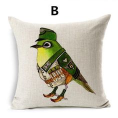 Pastoral style funny bird decorative pillows for sofa linen square cushions