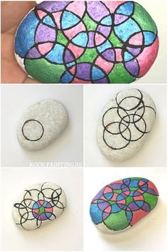 Learn how to draw a perfect circle on a rock. With this rock painting hack, you'll be able to create circles on rocks, paper, canvas, or any other fun surface. Circle Painting, Pebble Painting, Dot Painting, Pebble Art, Stone Painting, Painting Hacks, Painting Lessons, Painting Techniques, Rock Painting Patterns