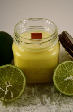 Wood Wick Soy Jar Candle  Coconut Lime Heavily by Blackberrythyme, $9.00