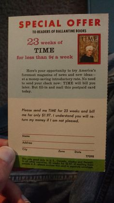 This Time Magazine subscription card I found in a book from the 1950s.