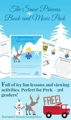 FREE The Snow Princess Book and Movie Pack: Full of over 85+ pages of icy lessons and viewing activities for children in grades preschool - 3rd! #freeprintable - Enchanted Homeschooling Mom