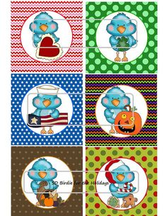 DIY Printable Birdie for the Holidays Shrinky Dinks by MaddieZee, $1.25