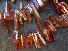 Crystal Quartz Sticks, 15 to 40mm, Copper AB Luster, Raw and Irregular by DragonflyBeadsStudio on Etsy
