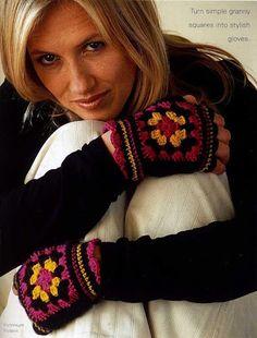 Granny Square fingerless gloves.. FREE PATTERN!! ..  Варежки, перчатки, митенки крючком - Tatiana Alexeeva - Picasa Web Albums...