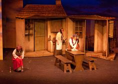 """I like the shape of the interior. Design could be rotating to """"outside"""". Set - Fiddler On The Roof Theatre Stage, Musical Theatre, Christmas Stage, Fiddler On The Roof, Stage Set Design, Stage Props, School Play, Under The Lights, Scenic Design"""