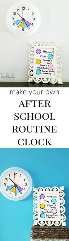 Make your own easy color coded After School Routine Clock to help guide the time you have from after school until bedtime. #parentingtipsbedtimeroutines