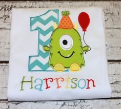 Monster Birthday Shirt, Personalized Monster Shirt, Boy's Monster, Girl's Monster by thesimplyadorable on Etsy