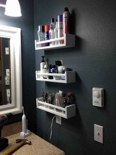 Need more bathroom storage? (Who doesn't.) Use spice racks.