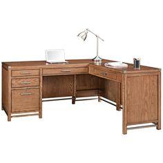 Arcadia Tuscan Chestnut L-Shape Large Home Office Desk - Style # 9X915