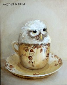 'THE NIGHT OWL AND ME'. Owl teacup painting original ooak canvas art by 4WitsEnd, via Etsy