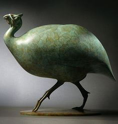 The artist has commented of this sculpture, that he was attracted by the bulky body and tiny distinctive head of the Guinea Fowl, running before the wind like a Chinese junk.A unique take on wildlife art. Released in an edition of twelve.