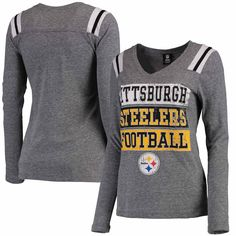 Women s Pittsburgh Steelers 5th   Ocean by New Era Heathered Gray Block  Letter Tri-Blend Long Sleeve V-Neck T-Shirt b5c16afb6
