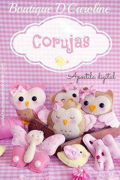 Felt owls Boutique D Caroline, Felt Owls, Hello Kitty, Teddy Bear, Animals, Character, Pasta, Tela, Owls