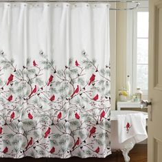 Cardinal Holiday Shower Curtain from Collections Etc. Holiday Shower Curtains, Bathroom Shower Curtain Sets, Colorful Shower Curtain, Bathroom Shower Curtains, Fabric Shower Curtains, Curtain Fabric, Christmas Holidays, Christmas Decorations, Xmas