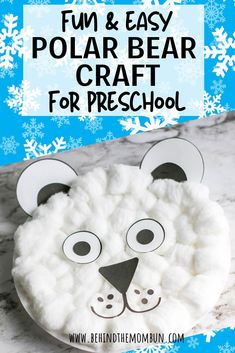 Easy Polar Bear Craft for Preschool Behind the Mom Bun-Turn an ordinary paper plate into a magical polar bear craft this winter. This craft goes per Winter Crafts For Kids, Craft Projects For Kids, Diy Crafts For Kids, Preschool Winter, Winter Kids, Art Projects, Craft Ideas, Winter Activities, Craft Activities