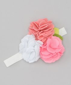 Take a look at this Pink & White Felt Flower Headband by Alejandra Kearl Designs on #zulily today!